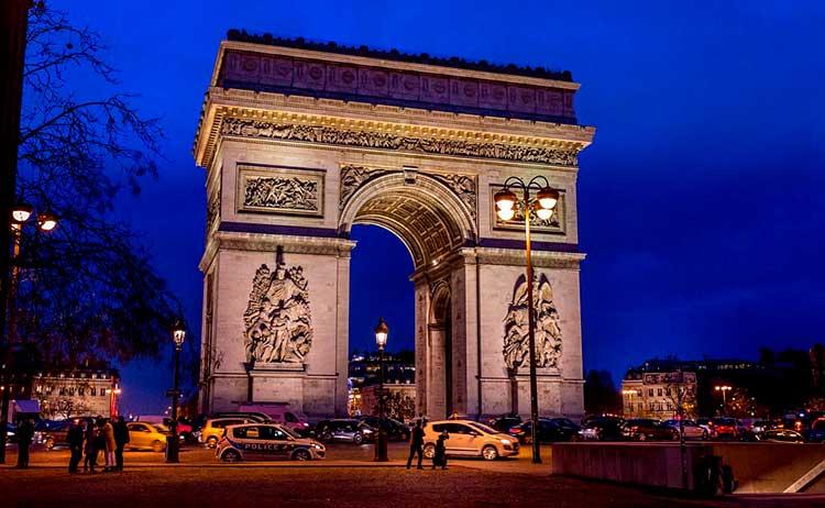 Avenida Champs-Elysées e Arco do Triunfo