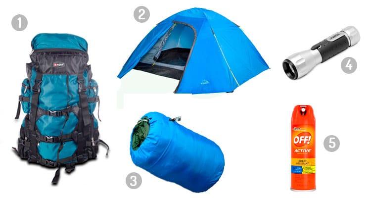 itens de acampamento